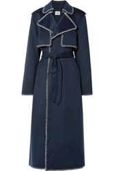 Khaite Roman Oversized Whipstitched Felt Trench Coat Midnight Blue