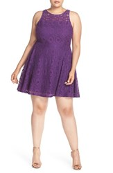 Bb Dakota Plus Size Women's 'Renley' Lace Fit And Flare Dress Purple Haze