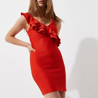 River Island Petite Red Asymmetric Frill Bodycon Dress