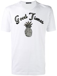 Dolce And Gabbana 'Good Times' T Shirt Men Silk Cotton Polyester Glass 48 White