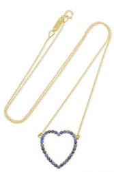 Jennifer Meyer Large Open Heart 18 Karat Gold Sapphire Necklace