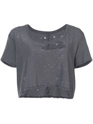 Unravel Project Distressed Cropped T Shirt Women Cotton Xs Grey