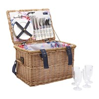 Joules Rattan Picnic Basket Grey Whitstable Floral