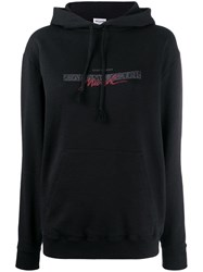Saint Laurent Printed Quote Hooded Sweatshirt Black