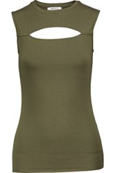 Bailey 44 Vast Cutout Stretch Jersey Top Army Green