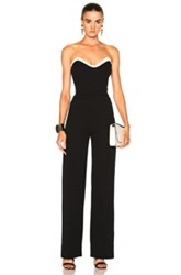 Thierry Mugler Technical Cady Bicolor Jumpsuit In Black White Black White