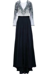 Catherine Deane Kayley Embroidered Tulle Paneled Silk Satin Gown Navy