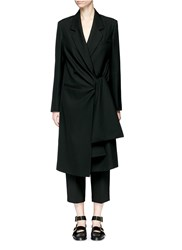 Acne Studios 'Lorin Struct' Tie Waist Long Coat Black