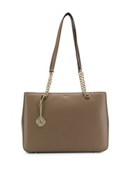Dkny Chain Tote Bag Brown
