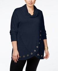 Belldini Plus Size Cowlneck Grommeted Tulip Hem Sweater Navy Gold