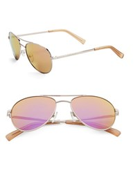 Calvin Klein 55Mm Mirrored Aviator Sunglasses Rose Gold