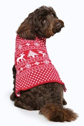 Boohoo Fairisle Christmas Dog Jumper Red
