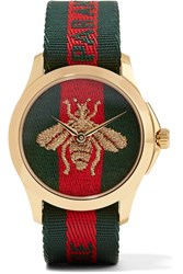 Gucci Canvas And Gold Tone Watch Green