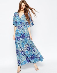 Asos Kimono Sleeve Maxi With Pleated Hem In Mixed Floral Print Multi