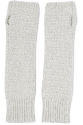 Duffy Knitted Fingerless Gloves Light Gray