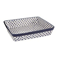 Bunzlau Castle Rectangular Oven Dish Blue Dots Large