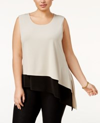 Calvin Klein Plus Size Asymmetrical Colorblocked Shell Latte