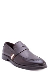 Zanzara Hensel Brogued Penny Loafer Brown Leather