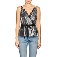Robert Rodriguez Lace Trimmed Sequined Wrap Front Cami Silver