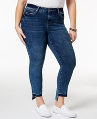 Rampage Trendy Plus Size Sophie Central Wash High Low Jeans