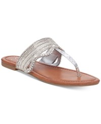 Jessica Simpson Randle Beaded Flat Sandals Women's Shoes Silver Liquid Snake