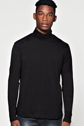 Boohoo Sleeve Narrow Turtle Neck T Shirt Black