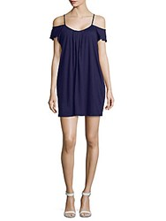 Saks Fifth Avenue Madison Slub Cold Shoulder Dress Navy