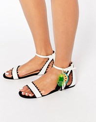 Miss Kg Felicity Black And White Fruit Charm Flat Sandals Black And White