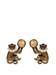 Gucci Monkey Brass And Glass Pearl Earrings Gold