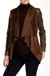 Bnci By Blanc Noir Faux Leather And Suede Drape Front Jacket Brown