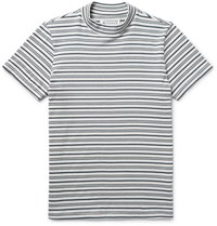 Maison Martin Margiela Striped Cotton Mock Neck T Shirt White
