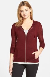 Women's Cupcakes And Cashmere 'Arlington' Zip Front Hooded Sweater Burgundy