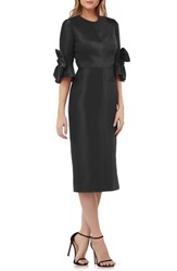 Kay Unger Bow Sleeve Stretch Mikado Dress Black