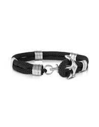 Forzieri Men's Bracelets Black Nautical Rope Double Bracelet W Anchor