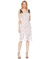 Donna Morgan Lace Dress With Contrast Self Tie Shoulder Ivory White