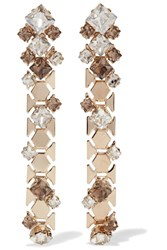 Lanvin Gold Tone Swarovski Crystal Earrings One Size