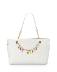 Betsey Johnson Give Me A B Quilted Satchel Bag White