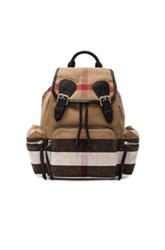 Burberry Medium Canvas Check Rucksack In Neutrals Checkered And Plaid Neutrals Checkered And Plaid