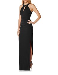 Laundry By Shelli Segal Beaded Neckband Long Gown Black