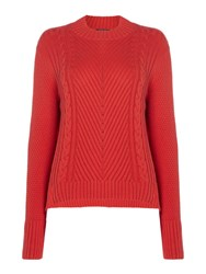 Therapy Lola High Neck Cable Stepped Hem Jumper Red