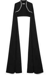 Safiyaa Cropped Crystal Embellished Crepe Jacket Black