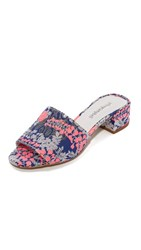 Jeffrey Campbell Beaton Floral Mules Pink Blue Silver Floral