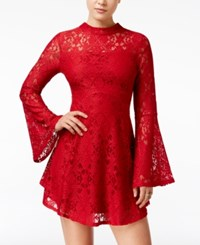 Material Girl Juniors' Lace Bell Sleeve Shift Dress Only At Macy's Chili Pepper