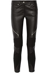 Givenchy Skinny Pants In Black Leather And Stretch Knit