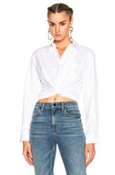 Alexander Wang T By Cotton Twill Twist Front Long Sleeve Shirt In White