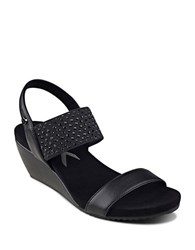 Anne Klein Castie Double Band Wedge Sandal Black