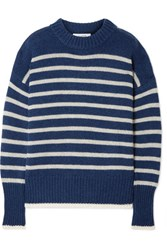 La Ligne Marin Striped Cashmere And Wool Blend Sweater Navy