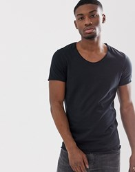 Selected Homme Scoop Neck Rolled Hem T Shirt In Black