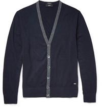 Hugo Boss Contrast Trimmed Cotton And Wool Blend Cardigan Navy