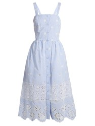 Sea Exploded Eyelet Button Front Cotton Dress Blue White
